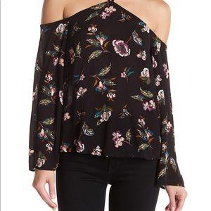 Cream floral print boho off shoulder top